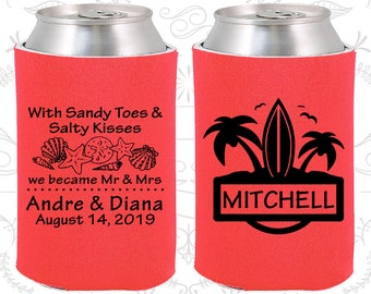 Tangerine Wedding, Tangerine Can Coolers, Tangerine Wedding Favors, Tangerine Wedding Gift, Tangerine Party Decorations (519)