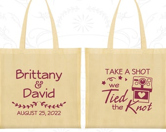 Take a Shot We Tied the Knot, Imprinted Tote Bag Canvas, Camera, Bags and Totes (494)