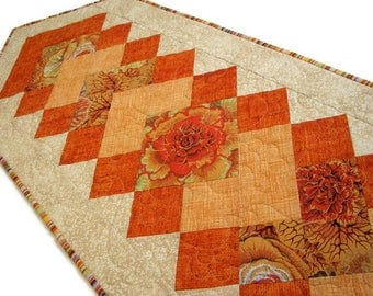 "Autumn Quilted Table Runner, Fall Floral Quilted Table Mat, Rust Beige Gold Reversible Table Runner, 48"" x 15"", Quiltsy Handmade"