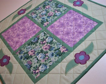 "Shabby Cottage Chic Quilted Table Topper, Spring Table Topper, Floral Table Mat, Seafoam Green and Lavender, 19.5""x19.5"", Quiltsy Handmade"