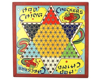1950s Chinese Checkers Game Board - Red, Blue, Yellow, Green, White, Orange