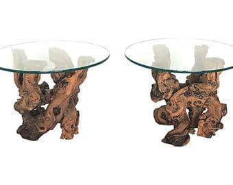 1960s Burl Wood Root Side Tables, Pair - Vintage/Mid-Century Modern