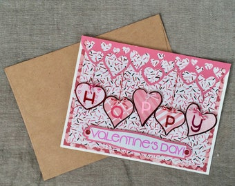 Valentine's Day Card w/Hearts hanging from Hearts