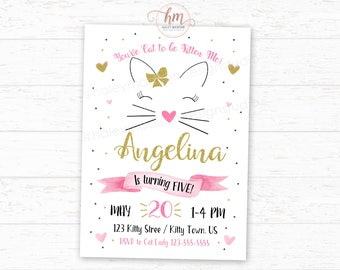 Cat Birthday Invitation, Kitty Cat Birthday Party Invitation, Gold, Pink and Black Digital File