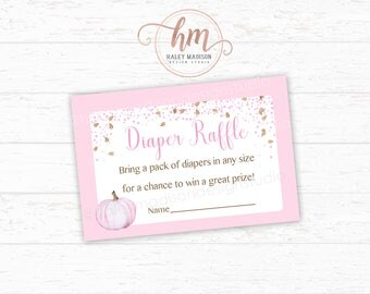 Pumpkin Diaper Raffle cards, Pink Pumpkin Baby shower, Bring a pack of diapers cards, Baby Sprinkle, Fall baby shower PRINTABLE FILE HM313