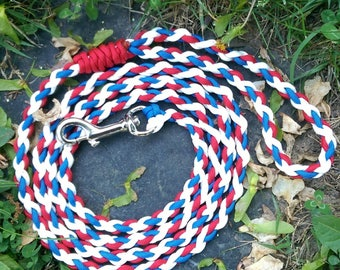 Red white and blue paracord dog leash
