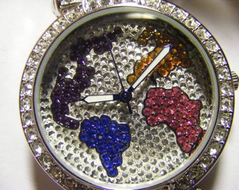 Adrienne world watch leather band ladies.bling bling