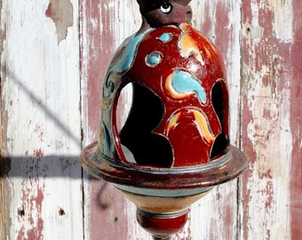 Handmade Red and Orange Raku Bird Feeder #15, Metallic Ceramic Raku Lantern, Hanging Pottery Bird Feeder