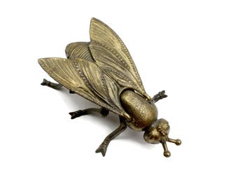 Brass Fly Ashtray | Brass Fly • Brass Animal Ashtray • Fly Figurine • Brass Insect Decor • Insect Brass Ashtray • Vanity Dish • Gold Fly