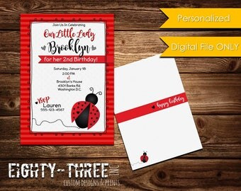 Ladybug Birthday Invitation - Custom - Digital File Only