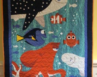 Minkee Baby Quilt, Finding Dory  Quilt,  Sea Life Blanket, Baby Blanket, Crib, Nursery, Bedding, Stroller Blanket, Quiltsy Handmade