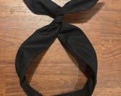 Solid Black Wire Twist Headband