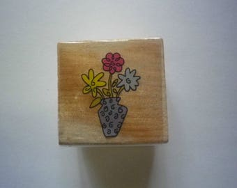 Rubber stamp wooden Vase planter new sold individually