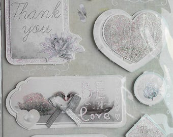 Plate 12 stickers 3D swans, love and card making, scrapbooking new messages