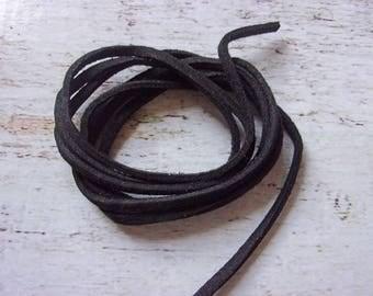 1 meter black 3 mm new flat suede cord
