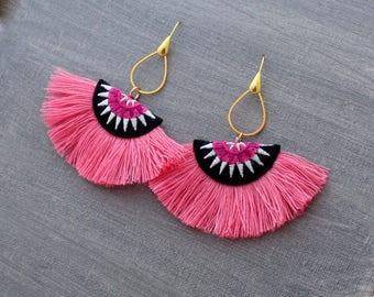 Fringe Earrings - Tassel Earrings, Pink Tassel Earrings, Fiesta Earrings, Fan Earrings, Half Circle Earrings, Tassle Earring, Green Earrings
