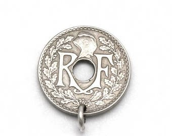 ON SALE 1935 Five Centimes French Franc Bracelet Charm 5 Cents France