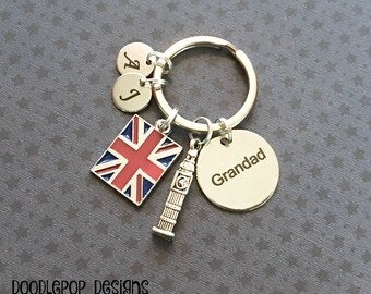 Personalised Grandad keyring - London keyring - Birthday gift for Grandad - Big Ben keychain - London gift - Grandad Gift - Stocking filler