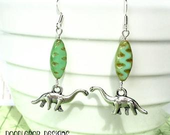 Dinosaur earrings - Brontosaurus earrings - Paleontologist gift - Dinosaur jewellery - Dinosaur gift - Stocking filler - Secret Santa - UK