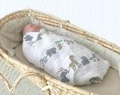 Baby muslin blanket, circus baby swaddle, double gauze swaddle, baby gauze blanket, baby muslin swaddle, circus baby shower, baby swaddle