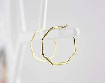 Geometric gold plated hoops earrings