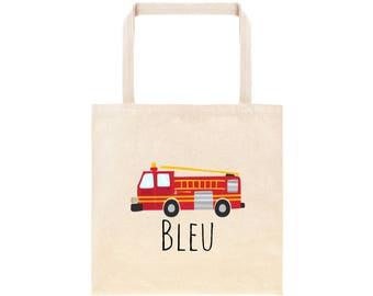 Fire Truck Personalized School Tote Bag // Custom Canvas Fire Truck Book Bag // Firefighter Bag Kindergarten // Fire Truck Preschool