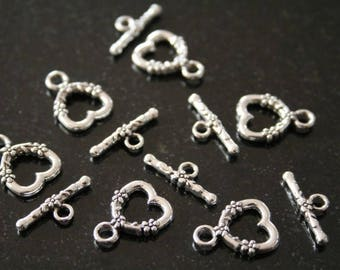 """20 """"toggle"""" in antique silver clasps. (ref:0822)."""