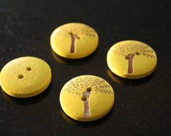 """10 """"tree"""" wooden buttons. (ref:2836)."""