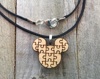 Autism Jewelry-Autism Awareness Mickey Mouse Pendant-Autism Puzzle Piece Necklace-Autism Art-Art Jewelry-Laser Cut Pendant-Autism Gift