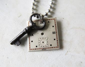 """Vintage Watch Face & key necklace Crawford Watch Necklace 24"""" Ball chain"""