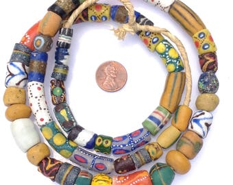 58 Mixed Ghana Recycled Glass Trade Beads