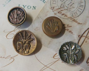 4 Antique Picture Buttons Brass and Pewter Cat Tails Reeds Pussywillow Design