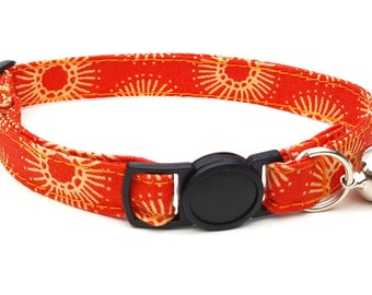 Orange metro flower collar with breakaway safety clasp