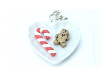 Candy Cane Gingerbread Charm