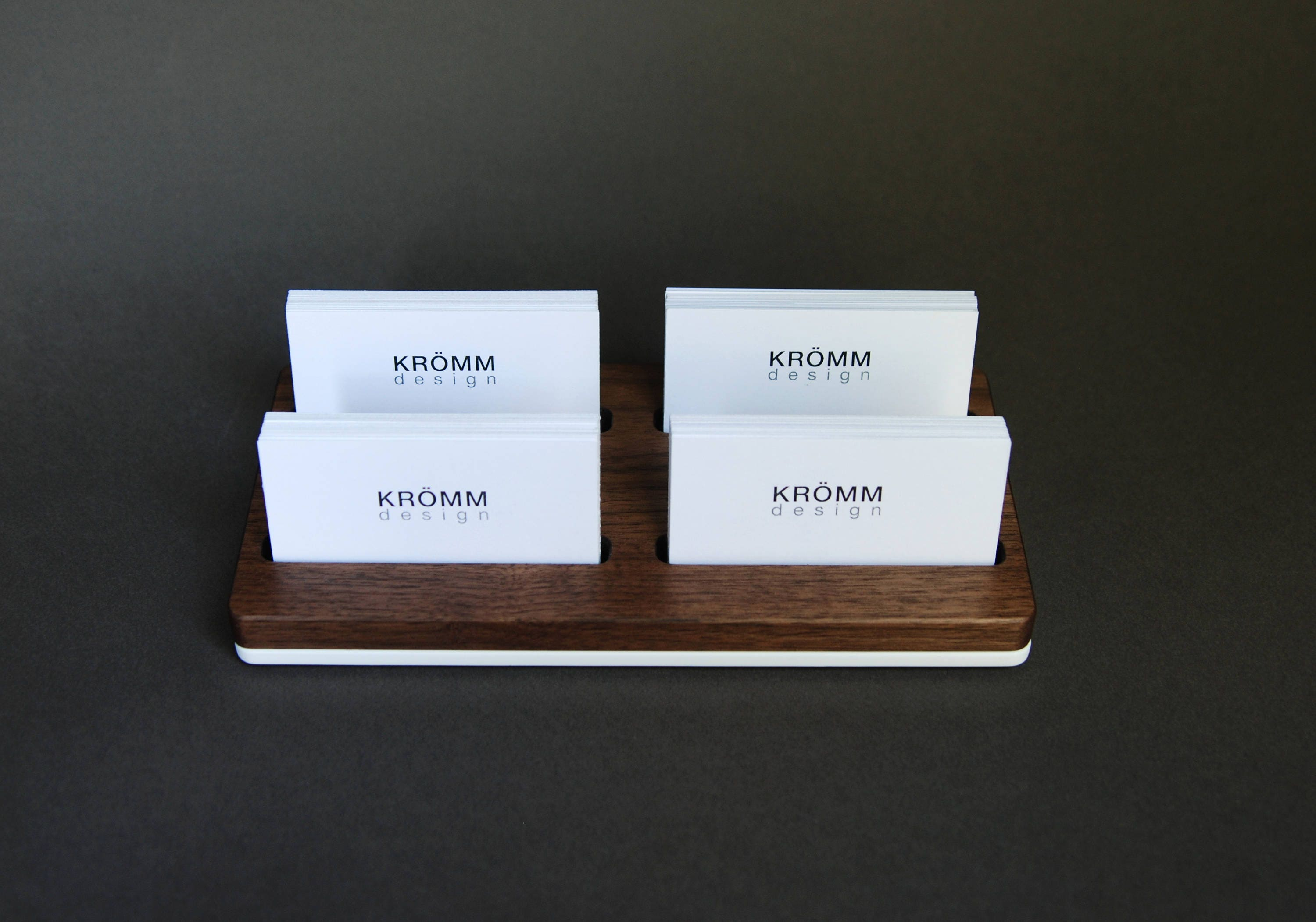 Wood two row business card holder for front desk wood business business card display walnut wood card holder gallery photo gallery photo gallery photo gallery photo magicingreecefo Images