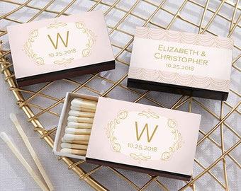 Set of 50 Personalized Weding Matches with Modern Romance Design - Wedding Matchboxes - Matchbox Wedding Favors (28257-MOD)