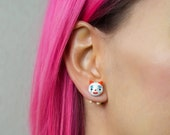 Clown cat earring and red stud | kitty cat circus jewelry IT movie character pennywise fake gauge plug stud earrings polymer clay cats