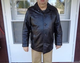 Mans 1980s era  Black Leather jacket,coat size XL,or 48,better made,softer supple leather