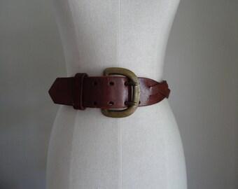 60's Belt Leather Brass Buckle Handmade Hippie Waist Belt