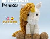 Patrón crochet Unicornio - Amigurumi Unicornio pdf tutorial - WILLIAM el Unicornio