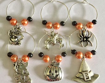 Halloween Wine Glass Charms, Spooky Drink Markers, Scary Party, Black Widow Spider, Witches Brew, Bats, Bunco Party Prize, Hostess Gift