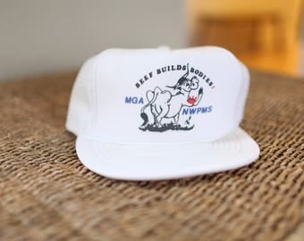 vintage white cow beef builds bodies foam dome hat