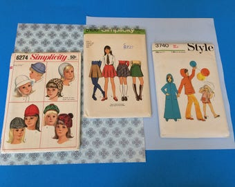 Vintage Simplicity & Style Girls Sewing Patterns Size 7  Skirts Size 8 Robe Tunic Shorts Trousers Simplicity Size 21 3/4 Sets of Hats