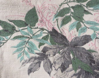 """BarkCloth Vintage in Gray Turquoise Green & Pink on an Off-White Background  //  Vintage Decorator Fabric  //  1940s Era  //  76"""" by 42"""""""