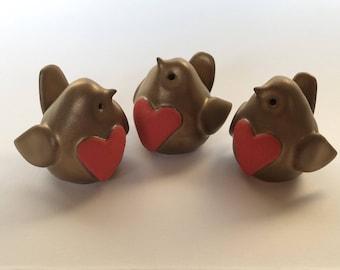Special Valentine's Edition Handmade Ceramic Mini Robin Heart