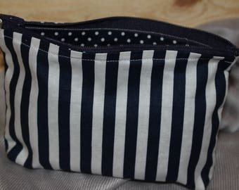 Cosmetic/Makeup Bag - Blue/White Stripe
