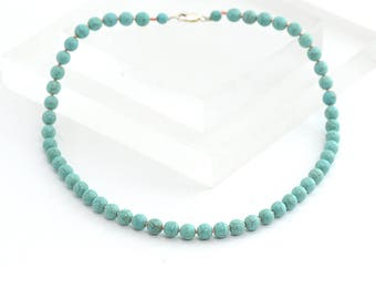 Turquoise beaded necklace with Sterling Silver lobster clasp, Contemporary Blue Necklace, Sterling Silver and Turquoise Necklace