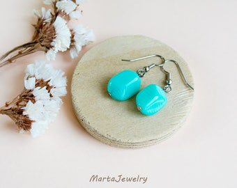 Turquoise glass earrings, minimalist, bohemian style, boho chic, tribal, dangle, drop, everyday jewelry, office, casual, summer gift for her