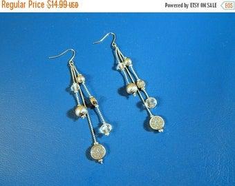 SALE Silver Crystal Earrings 3 Inch Dangle Drop Earrings