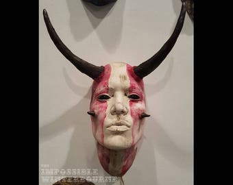 White and Red Taurus Face Sculpture with black eyes. Wall art, wall sconce, home and garden decor, Astrology sign, horned woman
